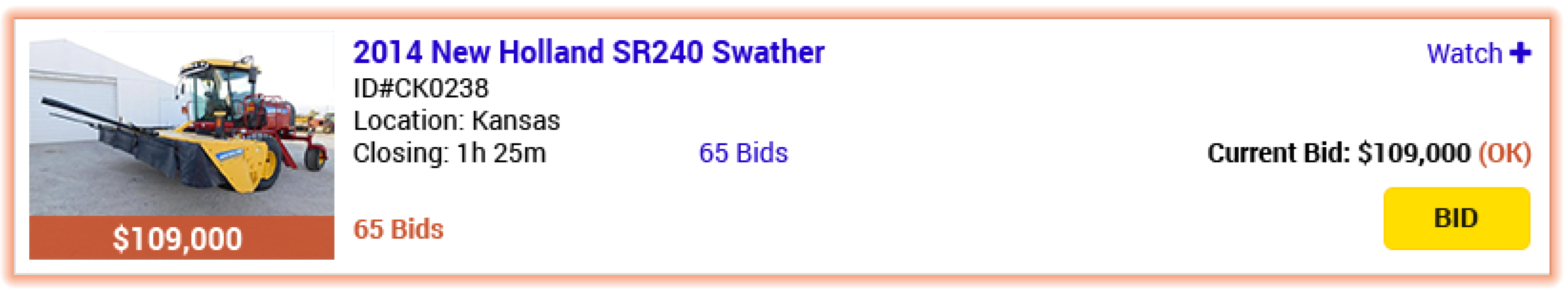 Outbid indicators show in red