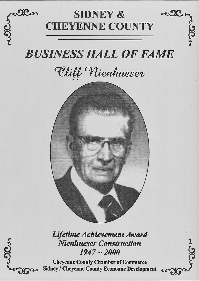 Cliff Nienhueser Business Hall of Fame Award