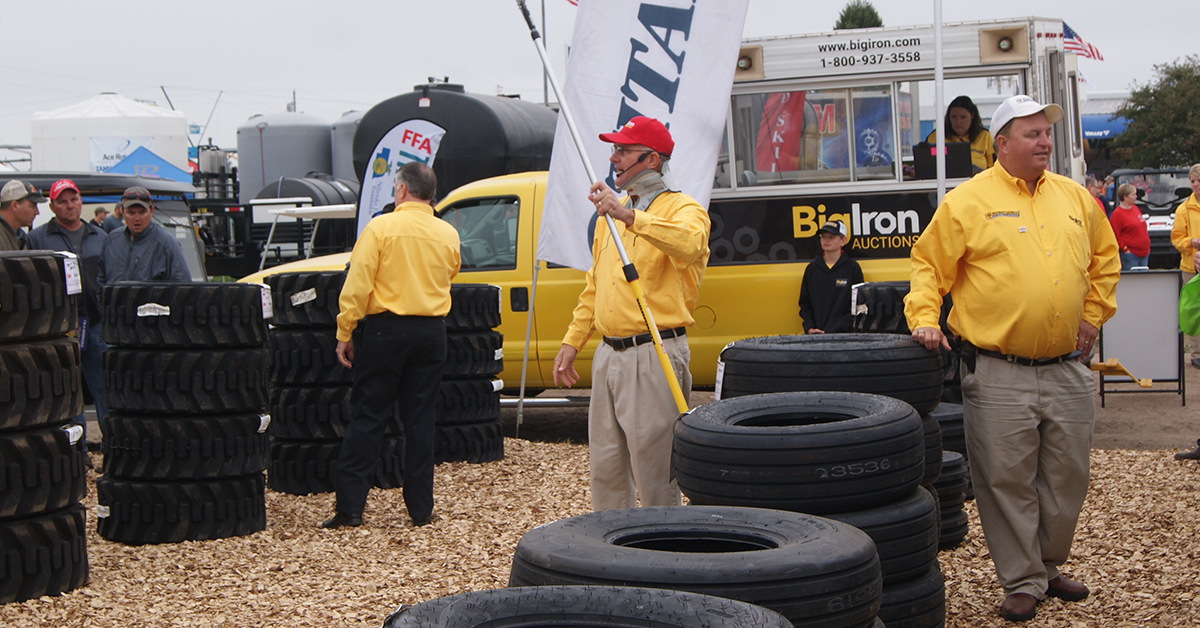 Mark and Ron Stock conducting the tire auction